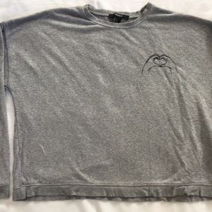 Gray sweater with hand embroidery